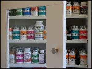 a well-stocked medicine cabinet