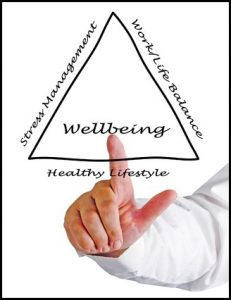A man points at a triangle representing different factors contributing to wellbeing