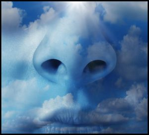 An illustration closeup of a nose and mouth overlaid by clouds